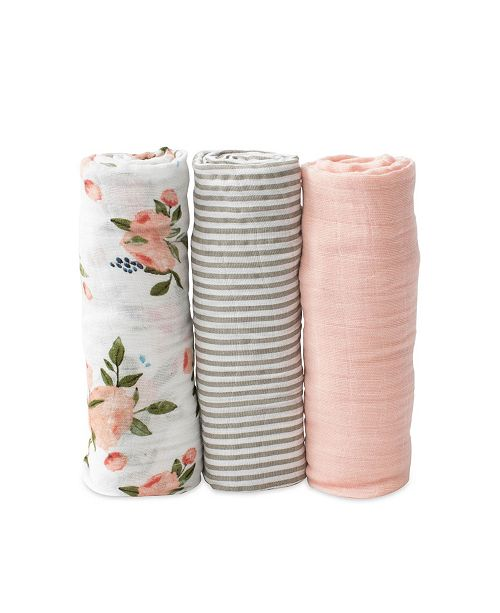 Cotton Muslin Swaddle 3 Pack - Watercolor Roses Set Little U
