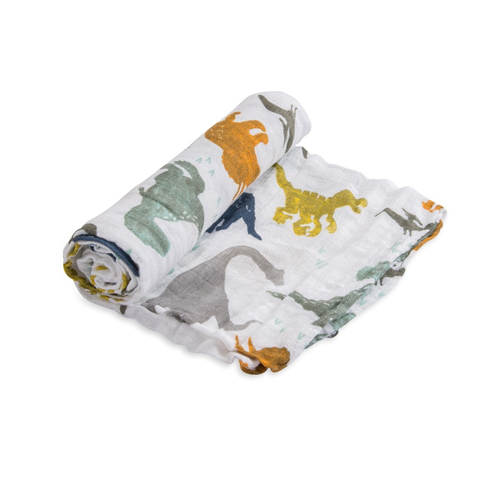 Cotton Muslin Swaddle Single - Dino Friends Little Unicorn