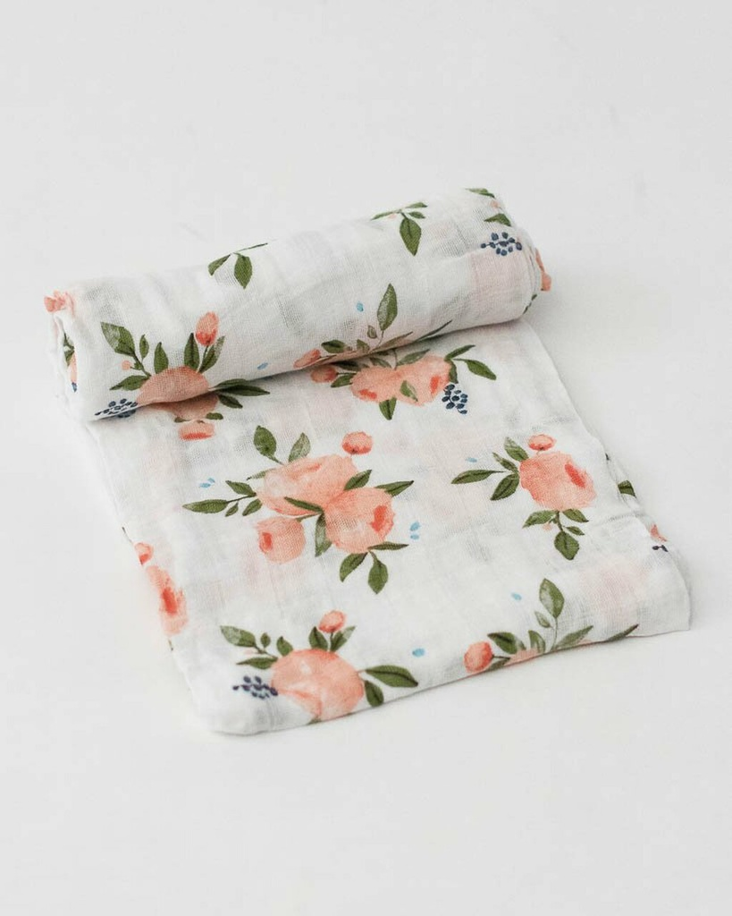 Cotton Muslin Swaddle Single-Watercolor Roses Little Unicorn
