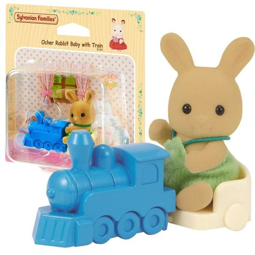 [5134] Ocher Rabbit Baby With Train Sylvanian Families