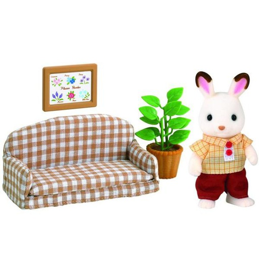 [5013] Chocolate Rabbit Father Set  (Settee) Sylvanian Families