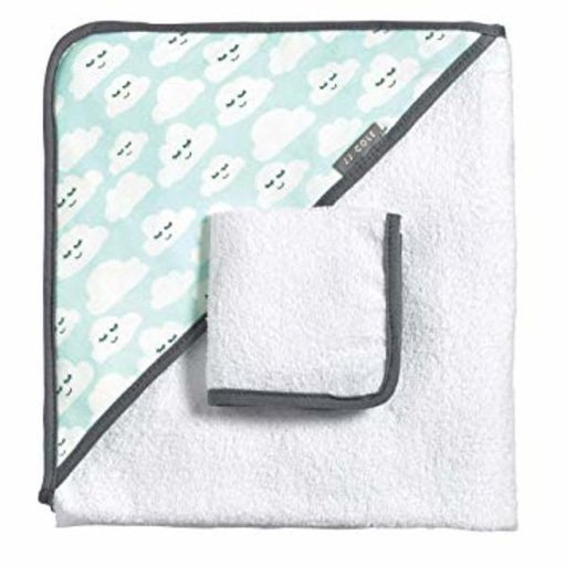 [614002017340] Hooded Towel Set - Cloudy Smiles