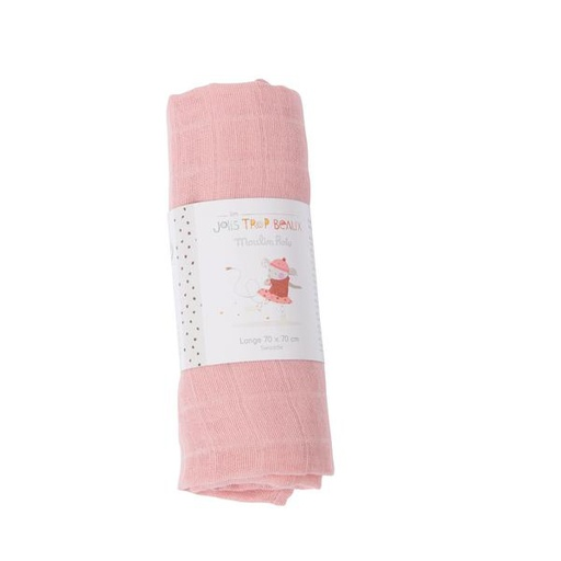 [665293] Pink Muslin Square 70 X 70 Cm Moulin Roty