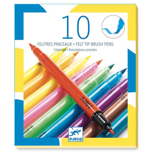 [DJ08799] 10 Felt Brushes - Pop Colours  Design By By Djeco